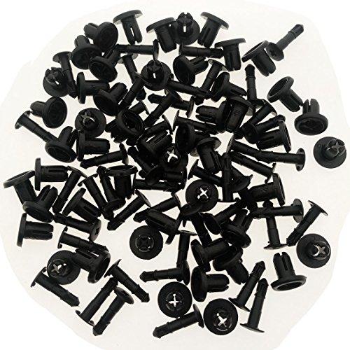 ZYHW Black Auto Car Door Trim Panel Moulding Clips 6mm Hole Dia Plastic Rivets 50pcs