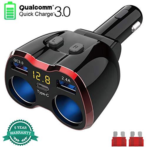 2-Socket Cigarette Lighter Quick Charge 30 80W 12V24V DC Car Splitter Quick Charge 30 USB C Car Charger with LED Voltmeter for GPS Dash Cam Sat Nav Phone iPad Tablet
