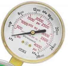 G25B-F4000 GENTEC 25 inch 4000 PSI Pressure Gauge