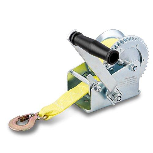 Hiltex 20694 Marine Trailer Winch Heat Treated Steel  Ratcheting Hand Winch Action  2000 Lb Capacity