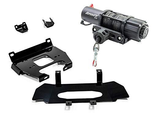 SuperATV Heavy Duty Winch Mounting Plate for Polaris RZR XP Turbo 4 Turbo 2019 - SuperATV 5000 lb Winch Included