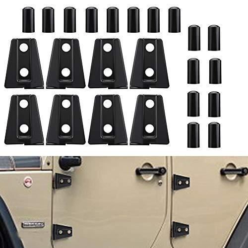 Car Door Hinge Cover Trim Delaman for Wrangler JK Unlimited 4-Door 2007-2018 8pcs Black