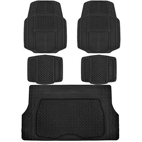 BDK AB110-C3 Black RuggedDuty Car Rubber Floor Mats wCargo Trunk Liner for Auto Sedan SUV Van - Total Protection