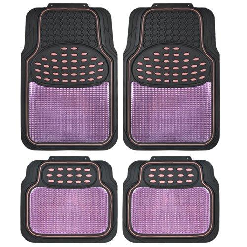 BDK Metallic Rubber Floor Mats for Car SUV Truck - Semi Trimmable 2 Tone Color Heavy Duty ProtectionPinkBlack - MT614PKAMw1