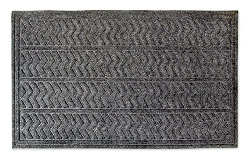 DII IndoorOutdoor Industrial Durable Non-Slip Polypropylene Fiber Hog Mat Easy Clean Rubber Back Entry Way Doormat For Patio Front Door All Weather Exterior Doors 18 x 30 - Dark Gray Chevron