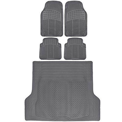 BDK Gray Cargo Rubber Car Floor Mats All Weather Heavy Duty Set 5 pcs