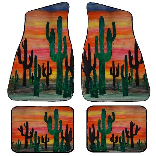 Desert Cactus Sunset Art Auto Car Floor Mat Sets