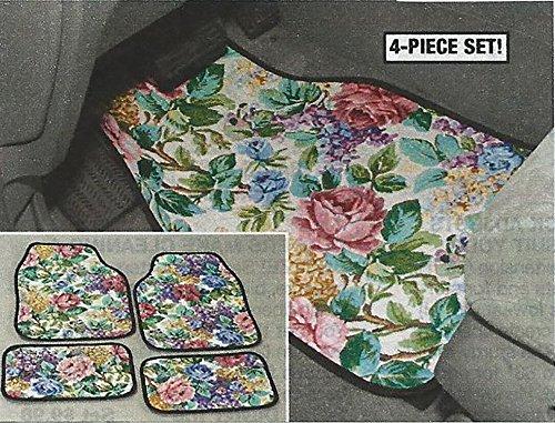 Floral Front Rear Car Floor Mats - Set Of 4 Flower