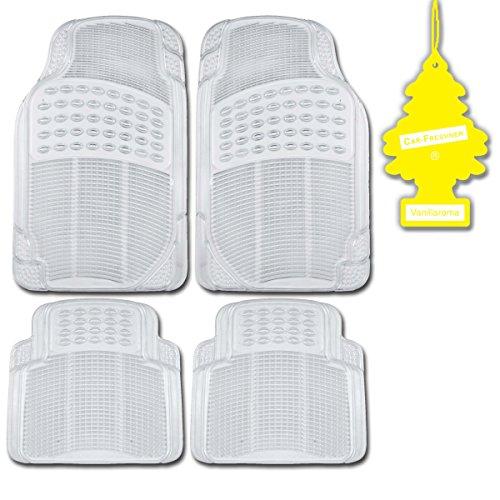 Heavy Duty Rubber Clear MotorTrend 4 Pc Car Floor Mats Set All Weather  Vanilla