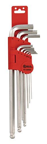 Genius Tools 9 Piece Metric Wobble Hex Key Wrench Set S2 Material HK-09MBS