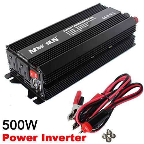 NEW SUN 500W1000W Peak Power Inverter DC 12V to AC 110V Car Converter 60Hz Dual USB-Outlets 31A 5V Portable Battery Charger Converter