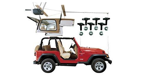 HARKEN Jeep Hardtop Garage Storage Hoist with Bonus 6 T Knobs for Quick Hardtop Removal  61 Mechanical Advantage  Lift Single-Person Hanger Pulley Wrangler Rubicon