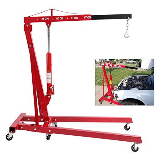 Ridgeyard 2 Ton 4400 lb Heavy Duty Foldable Hydraulic Jack Engine Motor Hoist Lift Shop Crane Swivel Castor Workshop Lifter