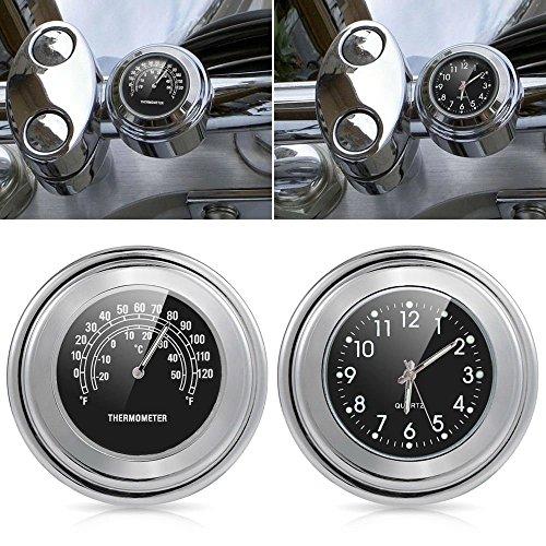 Lanlan Motorcycle Handlebar Clock Thermometer Waterproof Dial Handlebar Mount for Yamaha Kawasaki 22mm-25mm Black dial clock  thermometer