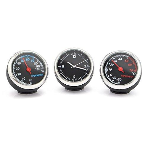 OLLGEN Auto Car Vehicle Thermometer Hygrometer ClockMini Small Classic Dashboard Thermometer Hygrometer Clock3 in 1 for Car Cool Decoration