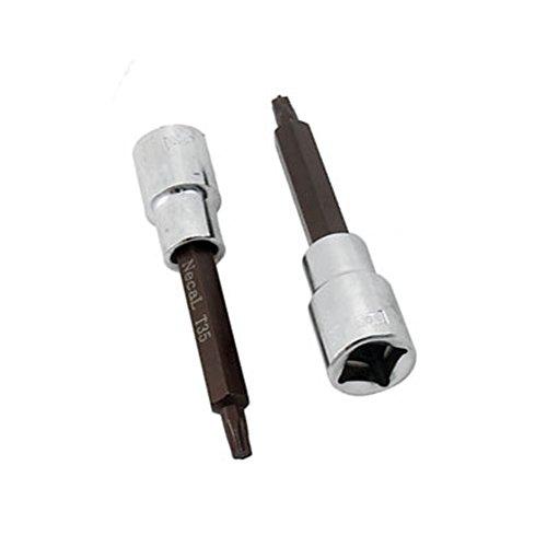 Antrader 2 Pcs 100mm x T35 Torx Head Screwdriver Drive Socket 12 Square Drive Socket Kit