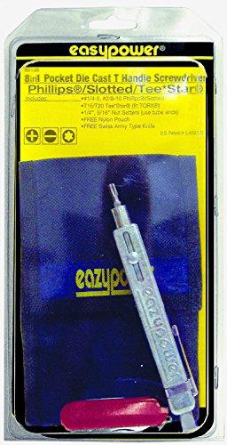Eazypower 80135 1-Pack 8-in-1 Pocket Metal Die Cast T-Handle Screwdriver