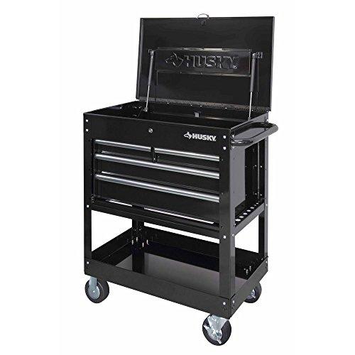 Husky HOUC3304B10 33 in 4-Drawer Mechanics Tool Cart Black