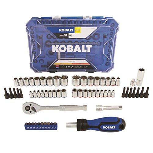 Kobalt 63-Piece Standard SAE and Metric Polished Chrome Mechanics Tool Set