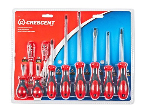 Crescent CSD10 Cushion Grip Screwdriver Set RedBlack 10-Piece by Apex Tool Group