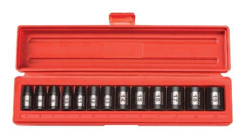 TEKTON 38-Inch Drive Shallow Impact Socket Set Metric Cr-V 12-Point 7 mm - 19 mm 13-Sockets  47916