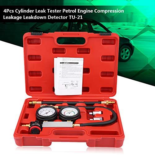 Qiilu Professional Cylinder Leak Tester 4 PCS Cylinder Leak Detector Petrol Engine Compression Test Gauges Cylinder Leakage Leakdown Detector TU-21
