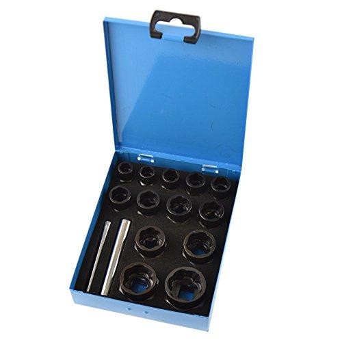 "15pc 38"" ½"" Dr Bolt Nut Twist Socket Wheel Lock Nut Remover Extractor 9-27mm"