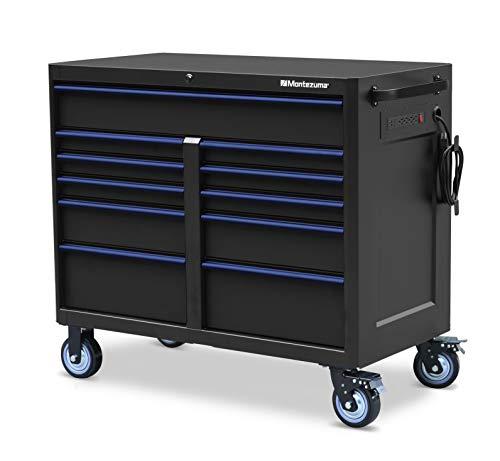 Montezuma Tool Box - 46 x24 11 Drawer Rolling Tool Cabinet with Multiple Power Outlets Black Powder Coat Finish - M462411TC