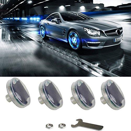 Car Tire Wheel Lights,4pcs Solar Car Wheel Tire Air Valve Cap Light with Motion Sensors Colorful LED Tire Light Gas Nozzle Cap Motion Sensors for Car Motorcycles Bicycles