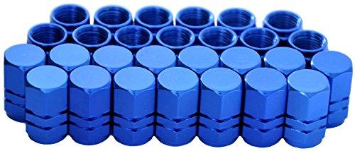 Cutequeen 28pcs Blue Aluminum Tire Rim Wheel Valve Stem Caps - Blue Color