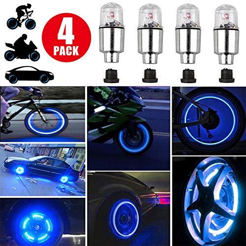 4Pcs Blue LED Wheel Lights -Bike Tire Valve Stem Neon Light Bulb For Car Motorcycle Wheel Tyre Valve Dust Cap Safety Waterproof Motion Activated Spoke Flash Lights Car Valve Stems Caps Accessories