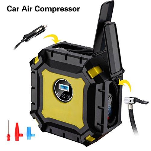Portable Air Compressor Pump Trofoty 12V 100PSI Auto Tire Inflator Air Pump with Gauge Digital Pressure Gauge Tire Pump for Car SUV Motor Bike Truck Air Mattresses Airboat Airbed Basket