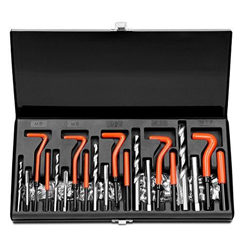 HORUSDY 131Pc Thread Repair Kit HSS Drill Helicoil Repair Kit Metric M5 M6 M8 M10 M12 Black
