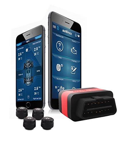 AUTOPHIX OT100 Car OBD II Code Reader Bluetooth TPMS Tire Pressure Gauge Monitoring System Diagnostic Code Scanner with 4 External Wireless Sensors