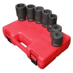 7 Piece 1 Drive 6 Point Metric Deep Impact Socket Set Tools Equipment Hand Tools