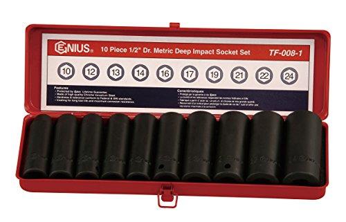 Genius Tools TF-008-1 12 Drive Metric Deep Impact Socket Set 10-Piece