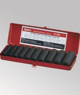 Genius Tools TF-008 12 Drive Metric Deep Impact Socket Set 10-Piece