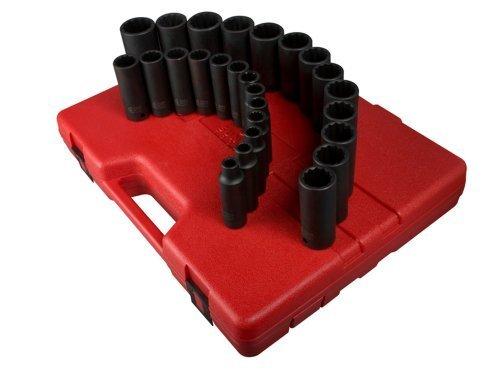 Sunex 2827 12-Inch Drive 12-Point Metric Deep Impact Socket Set 26-Piece by Sunex