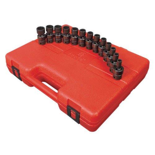 Sunex 3691 38-Inch Drive 12-Point Standard Length Metric Universal Impact Socket Set 13 Piece