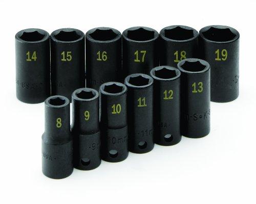 SK Hand Tool 4080 Drive Semi-Deep Metric Impact Socket Set 38-Inch