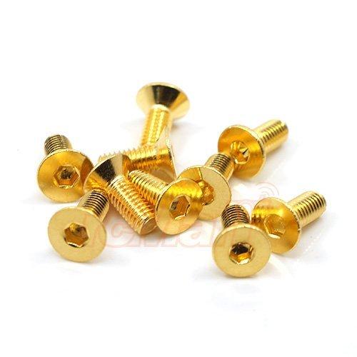 Yeah Racing 129 Grade Stainless Steel 24K Gold Coated Screw 3x8mm Hex Socket Flat Head Screw 10pcs SHF-308GD