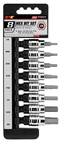 Performance Tool W38870 38-Drive SAE Hex Bit Socket Set 8-Piece