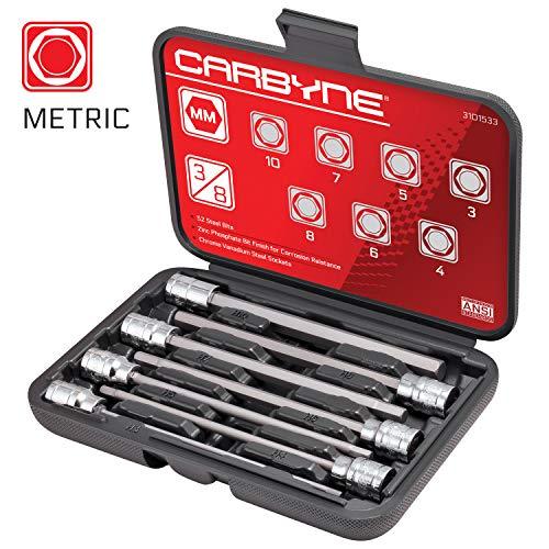 CARBYNE 7 Piece Extra Long Hex Bit Socket Set - Metric S2 Steel Bits  38 Drive 3mm to 10mm