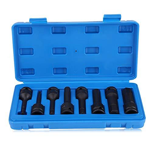 Qiilu 8Pcs 12 Inch Black Drive Hex Bit Impact Socket SetH5 H6 H8 H10 H12 H14 H17 H19 Impact Gun Air Allen Socket Metric and Standard