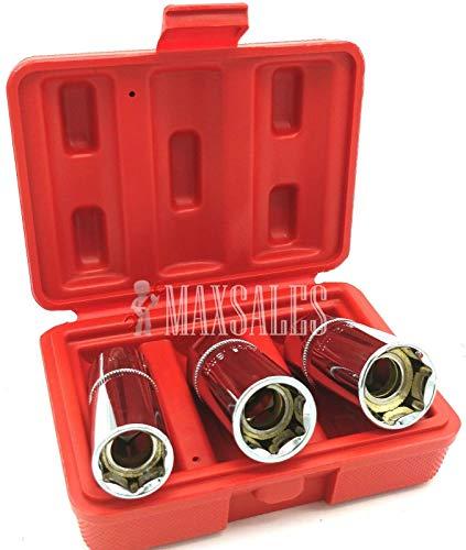 3pc Magnetic Spark Plug Socket Set 16 18 21mm 12 Dr Remove Installing Socket