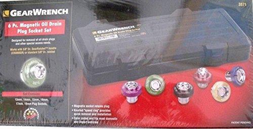 Socket Sets GearWrench 3871 6 Piece Magnetic Drain Plug Socket Set