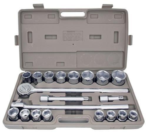 21pc SAE 34 Drive Socket Set w Storage Case Jumbo Ratchet Wrench Extension