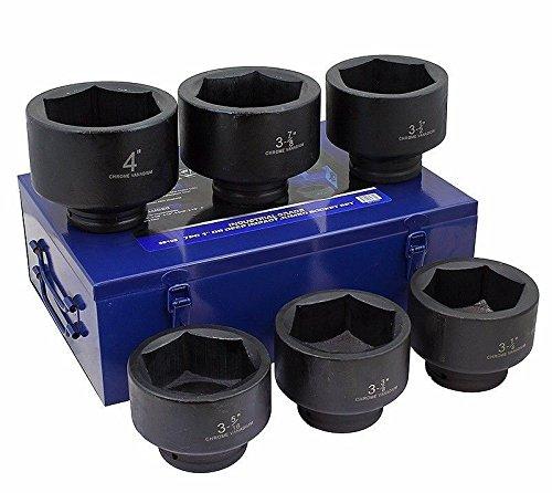 Stark 1 Drive Jumbo Shallow Impact Socket Set SAE Sockets 6-piece 3-14 - 4 Cr-Mo Steel with Case