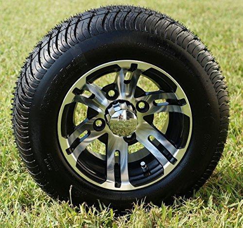 10 BULLDOG Machined Golf Cart Wheels and 20550-10 DOT Golf Cart Tires Combo - Set of 4