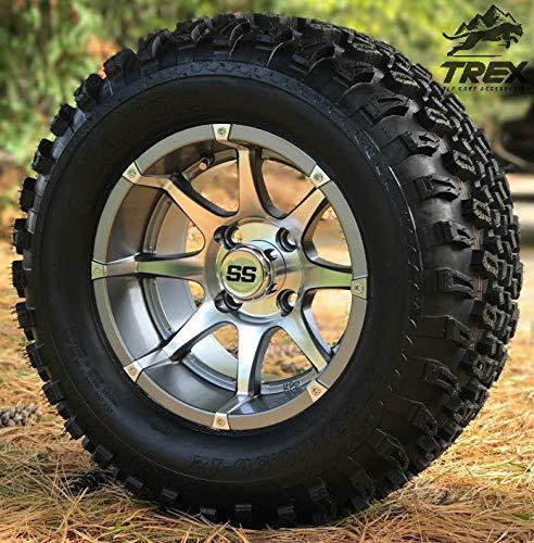 12 KPW Banshee GunmetalMachined Aluminum Wheels and 23 All Terrain Tires Combo - Set of 4 ClubCarEZGO 12x20